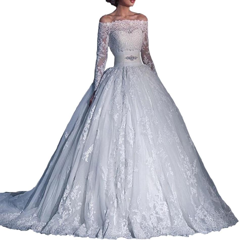 Elegant Long Sleeves Sheer Corset Ball Gown Wedding Dress European Latest Delicate Bridal Gown Off Shoulder
