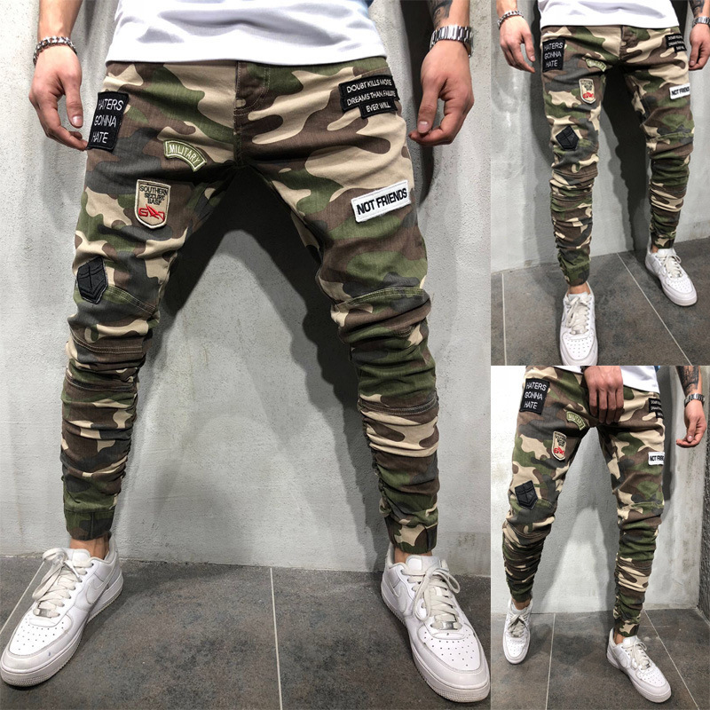 Men \'s Camouflage JEANS European BOY Slim Pants Skinn