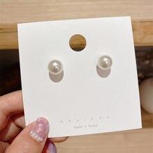2021 в Корейском стиле Модные простые женские маленькие круглые жемчужные серьги-гвоздики в виде капель с кристаллами в форме милой 90s для дев...