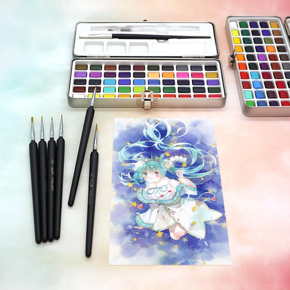 SeamiArt, 50/72/90 цветов, однотонные акварельные краски в наборе, Набор цветных красок, портативная металлическая коробка, пигмент цвета воды для начинающих, рисование, водные цветные бумажные принадлежности 4