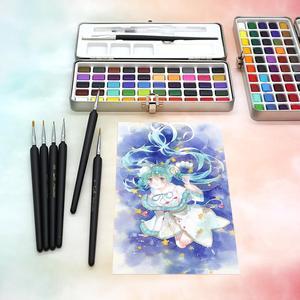 Image 4 - SeamiArt 50 צבע מוצק צבע בצבעי מים סט נייד מתכת תיבת צבעי מים פיגמנט למתחילים ציור בצבעי מים נייר ספקי