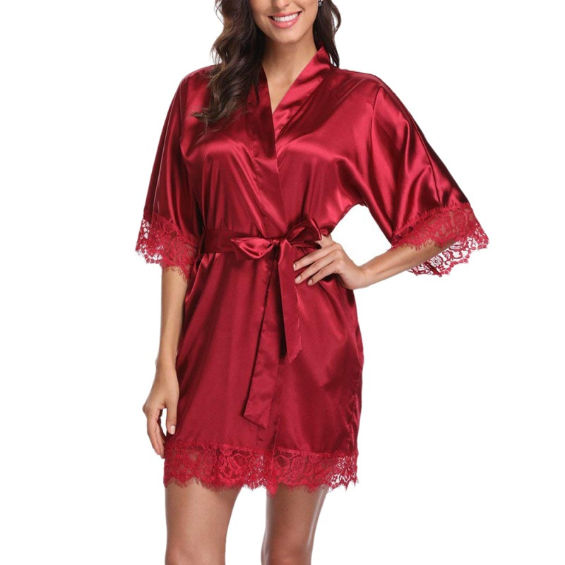 Women Sexy Sleepwear Pajamas Bathrobes Satin Robe Nightgown 2019 New Fashion Lingerie Night Mini Dress Lace Sexy Halt Sleeve