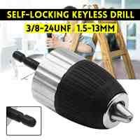 1,5-13mm 3/8-24UNF Self-locking Keyless Elektrische Bohrfutter Fahrer Werkzeug Zubehör Keyless Adapter Auswirkungen hex Schaft