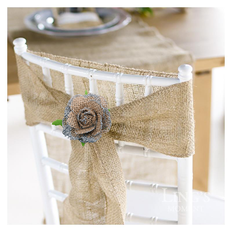 5pcs/lot Handmade Burlap Flowers Heads Vintage Hessian Bowknot Flower Rustic Wedding Party Decoration Centerpieces Roses Decor-4