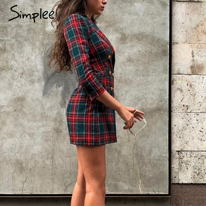 Image 5 - Simplee Streetwear cotton plaid dress Elegant double breasted long sleeve dress Office lady lapel straight autumn short dress