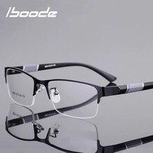Iboode óculos de leitura das mulheres dos homens de alta qualidade semi-frame diopter óculos de negócios masculino presbiopia + 1.0 1.5 2.0 2.5 4