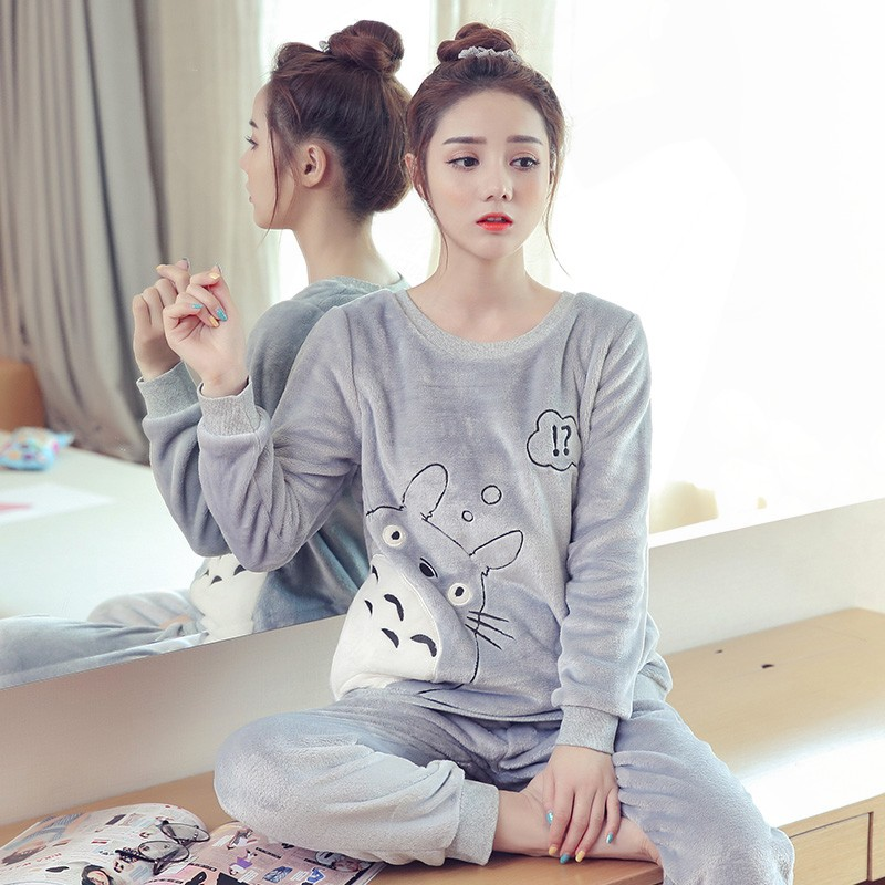 Pyjamas Women Winter Christmas Pajamas Set Ladies Thick Flannel Cute Sleepwear Female Warm Pijama Suit Long Sleeve Two Piece Pjs