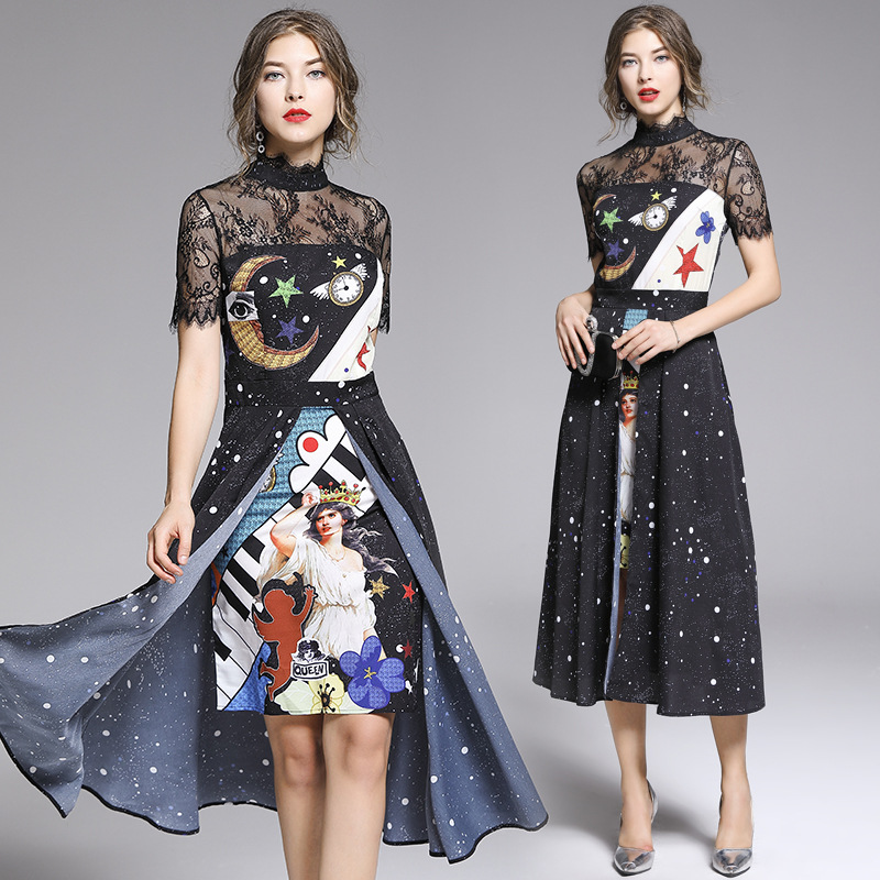 Very Fairy Of France Non-mainstream Lace High-waisted Dress 2019 New Style Summer Korean-style Joint Waist Hugging Elegant Long