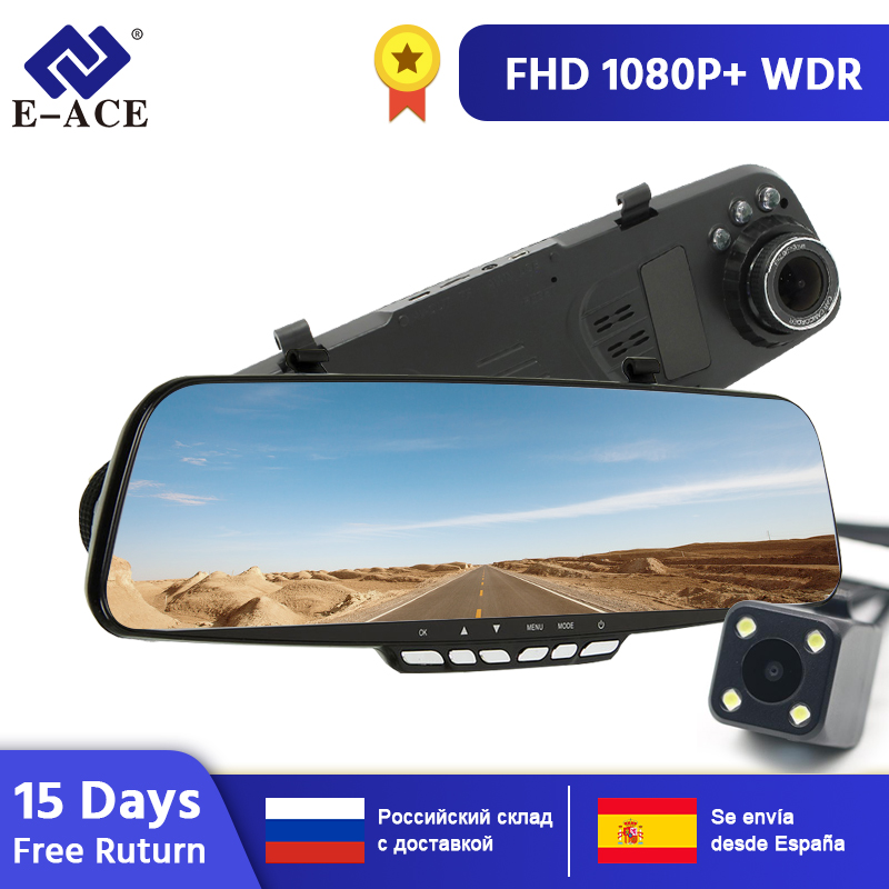 E-ACE Auto Spiegel Dvr 1080P FHD Dash Cam 4,3 Inch Rückspiegel Dual Objektiv Video recorder Kanzler mit rückansicht Kamera Dvrs