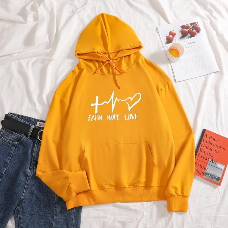 Купить новинка 2021 модные толстовки с надписью faith hope love однотонные