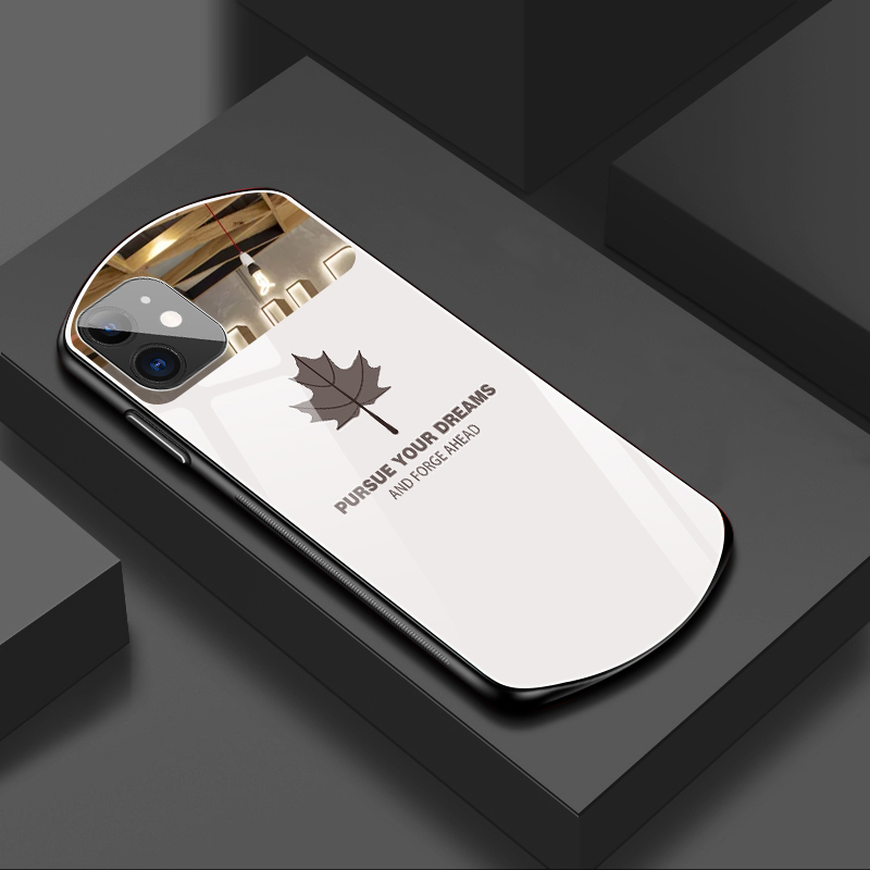 Oval Maple Leaf Pattern Tempered Glass Phone Case Mirror Silicone Case