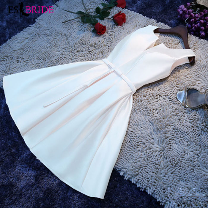 Student Party Short Formal Dresses Evening Gown Simple A-line Casual Muslim Evening Dresses Elegant White Evening Dress ES2502