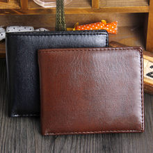 Fashionable Men's Bifold Wallet PU Leather ID Credit Card Holder Purse Clutch New Pure Color Business Male Handy Wallet Hot Sale(China)