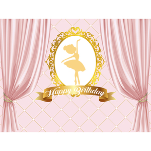 Image 5 - Funnytree photography photo zone ballerina first birthday photozone background party pink stripe dancer backdrop photophone