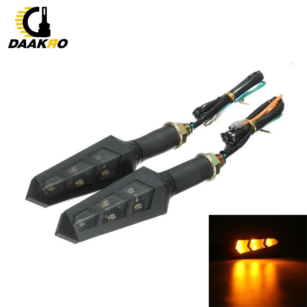 2PCS 6 LED Universal Water Flicker Flowing LED Motorcycle Turn Signal Indicators Blinkers Flexible Amber Light Lamp 12V