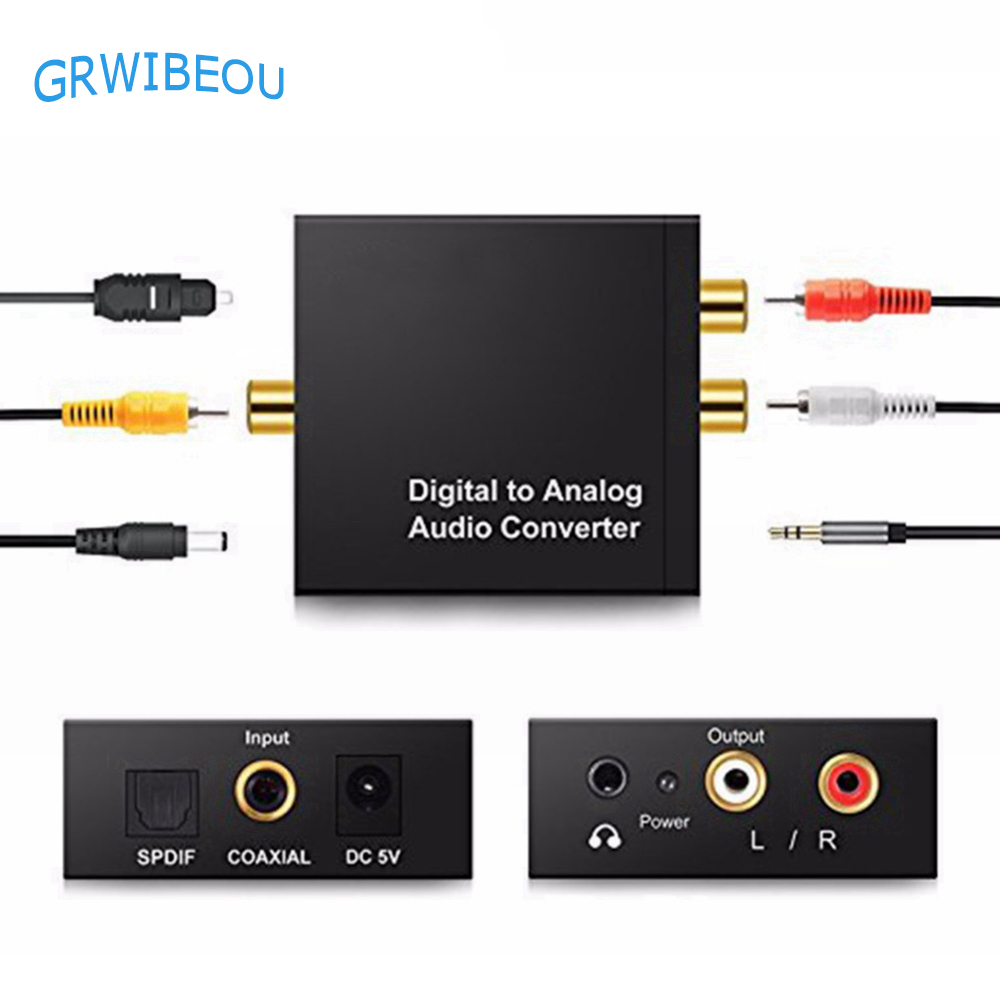 3.5mm Jack 2 RCA Digital To Analog Audio Converter Amplifier Decoder Optical Fiber Coaxial Signal To Analog Stereo Audio Adapter
