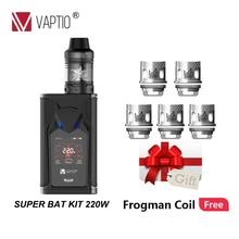 Gift coils E cigarette vape MOD 220W Vaptio Super Bat KIT 2ml Dual 18650 Battery power Firmware Upgradeable support droshipping