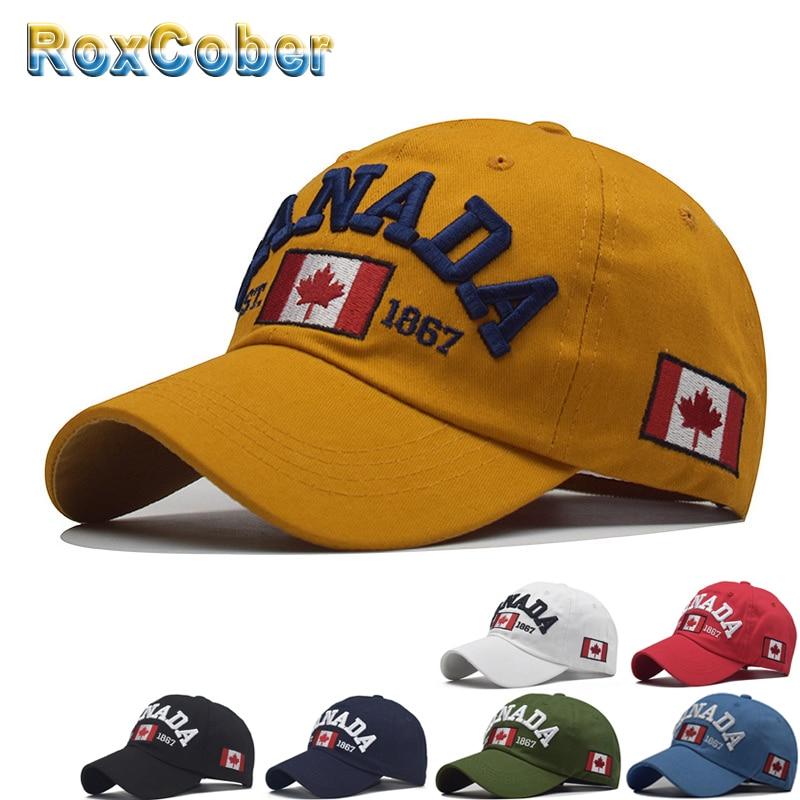 [RoxCober]  Wholesale Cotton Canada Flag Embroidery Baseball Cap Snapback Hat For Men Women Gorras Para Hombre Hip Hop Cap
