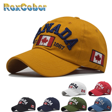 [RoxCober]  Wholesale Cotton Canada Flag embroidery Baseball Cap Snapb