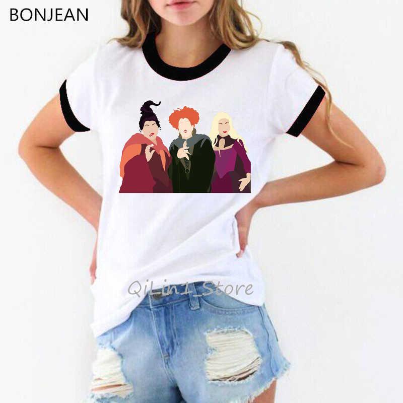 Śmieszne vogue koszulki z krótkim rękawem koszulki z nadrukami kobiety odzież 2019 Hocus Pocus koszula camiseta mujer harajuku ulzzang koszula streetwear topy