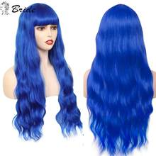 BRIDE Women Cosplay Wig Long Blue Water Wave Wig With Bangs Pink Black Brown False Hair Extension Synthetic Wigs Lolita Hair(China)