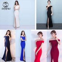 Skyyue Evening Dress Sexy Split Women Party Dresses Backless Zipper Robe De Soiree 2019 Off The Shoulder Gowns C214-DS1