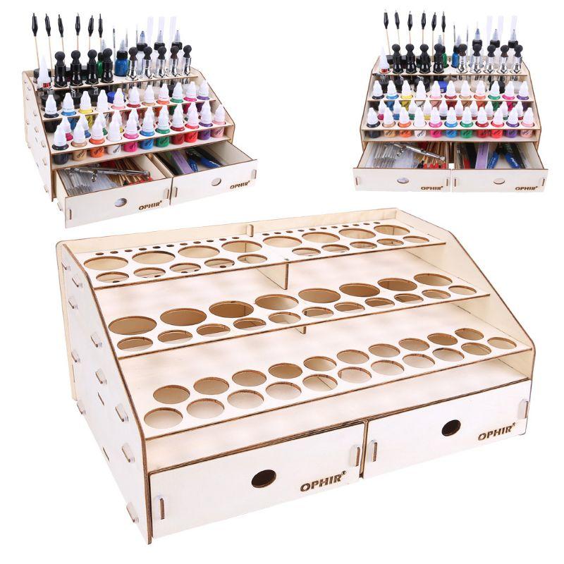 1Set Wooden Paint Tool Storage Rack With Cabinet Pigment Ink Bottle Organizer Holder