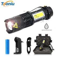 Portable LED Flashlight Q5 +COB Mini Black Waterproof Zoom LED Torch penlight Use AA or 14500 Battery Lighting lantern 3800lm xml q5 cob powerful rechargeable led torch mini pocket flashlight led rechargeable use aa 14500 battery waterproof