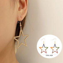 New simple female five-pointed star hollow earrings temperament fashion rainbow color/golden compact earrings gift