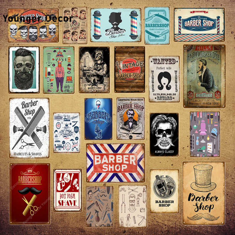 Vintage Kapper Metalen Borden Kapsel Tattoo Poster Cafe Bar College Dorm Decoratie Muur Plaque Thuis Wall Decor YI-039