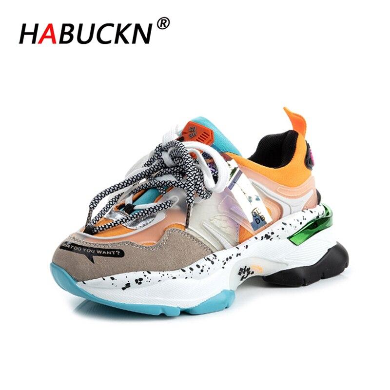 HABUCKN 2020 femmes grosses baskets plate-forme Tenis femmes rose formateurs chaussures décontractées Designers à lacets papa chaussures femme mode