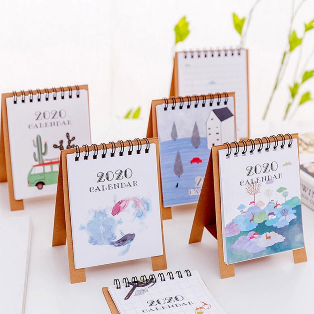 2020 Year Desk Calendar Simple Mini Desk Calendar Partysu Creative Cartoon Memo Little Calendar Year Book
