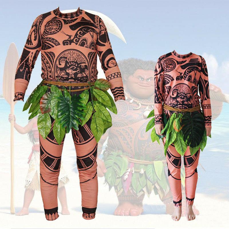Halloween Adult Mens Moana Maui Tattoo T Shirt Pants Grass Skirt Cosplay Costume