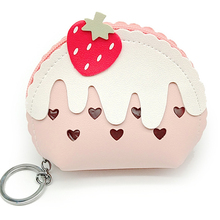 Strawberry Women Clear Purse Lady Kid Coin Wallet PU Lady Small Mini Coin Pouch Zipper Money Key Earphone Line Coin Holder Purse стоимость