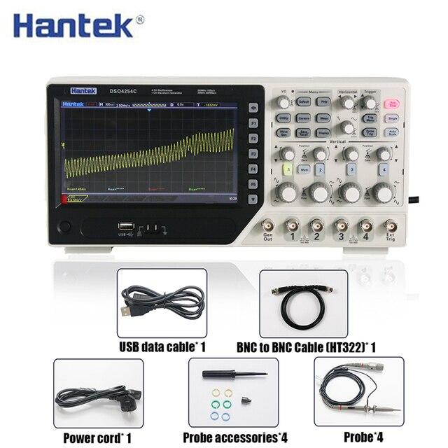 Hantek DSO4254C عاكس ذبذبات تخزين رقمي 4CH 250Mhz 1Gs/s مؤشر الذبذبات 25MHz وظيفة/مولد إشارة التعسفي