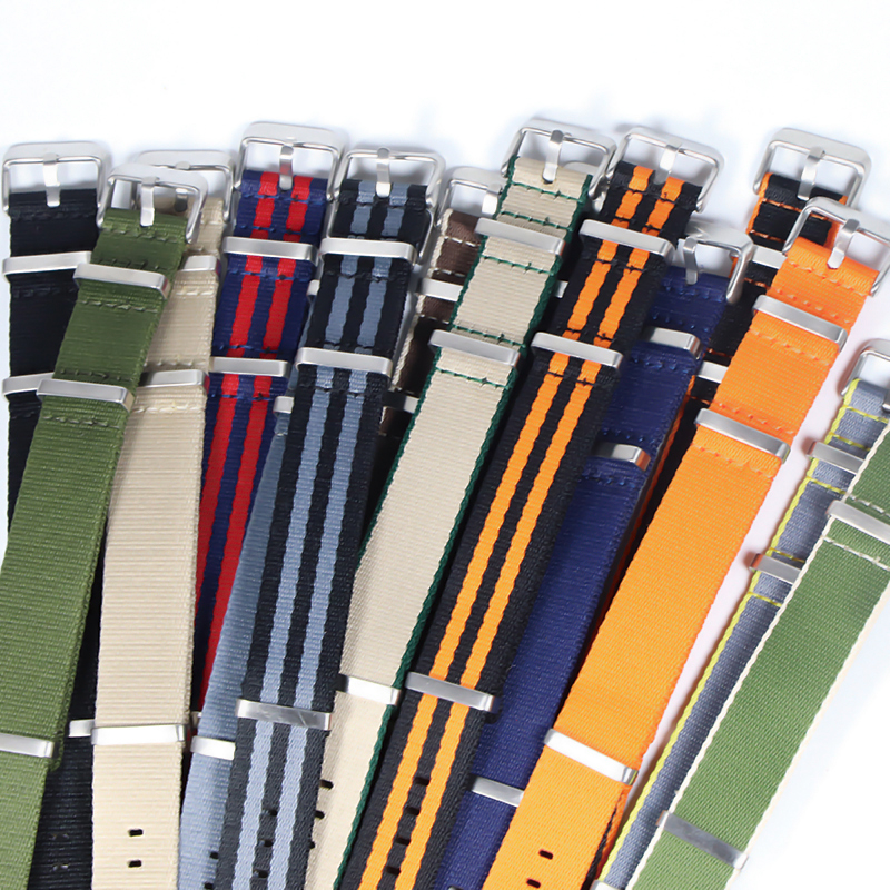 Premium Quality Herringbone 20mm 22mm Seatbelt Watch Band Nylon Nato Strap For 007 James Bond Military Striped Replacement Watch(China)