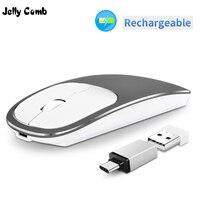 젤리 빗 충전식 Type-C + USB 2.4g 무선 마우스 듀얼 모드 메탈 Noiseless Silent Mice for MacBook 노트북 PC 노트북