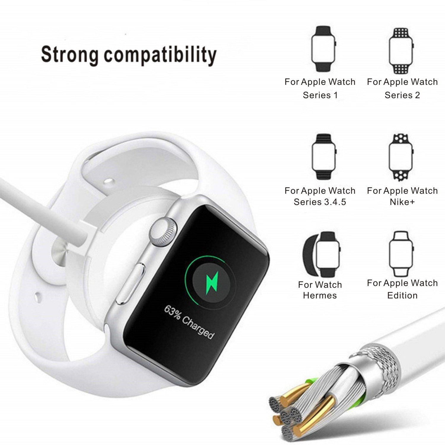 Phone Charger With Smartwatch Dock 4in1,3in1,2in1 USB Data Cable Magnetic Micro type-C Fast Charging Wire For Apple Watch iWatch