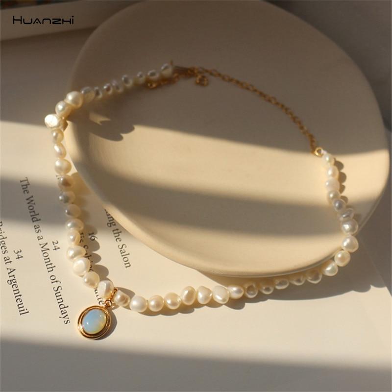 HUANZHI 2020 Новое Барокко из натурального пресноводного с жемчугом и лунным камнем кулон ожерелье геометрической формы для женщин и девочек веч...