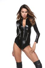 PU imitation patent leather bronzing classified locomotive conjoined sexy latex bodysuit lingerie one piece for woman