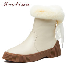 Meotina Warm Wool Snow Boots Women Natural Genuine Leather Ribbon Flat Ankle Boots Real Fur Zipper Shoes Lady Winter Size 34-39 цены онлайн