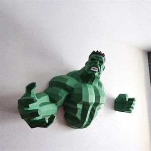 70cm Hulk 3D Paper Model Spiderman Iron Man Batman Deadpool Captain America Papercraft Action Figures Puzzles Kids Toys Gift(China)