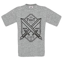 fight for your life sword ed chain skull dtg mens t shirt tees(China)