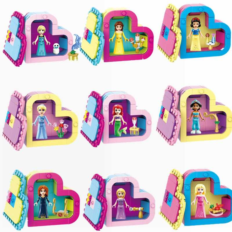 Legoing Princess Toy Hobbies Building & Construction Toys Children Friend Scenes Girls Heart shape Blocks Princess Legoings Gift