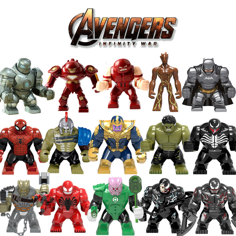Big Size Building Block Figures Thanos Venom Hulk Batman Spiderman Iron Man Compatible Bricks Toys Legoily Duploe For Childrens
