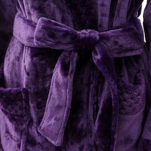 Image 5 - לילה שמלת נשים חלוק כותנה גלימת נשים של חורף התארך Coralline קטיפה צעיף חלוק ארוך שרוולים גלימת מעיל # G3