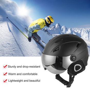 Unisex Snowboard Helmet Winter Warm Skiing Safety Helmet Protection Cap Half-covered Ski Helmets With Goggles Visor unisex bicycle protect helmets motorbike helmet goggles protection helmet retro vintage half open face helm