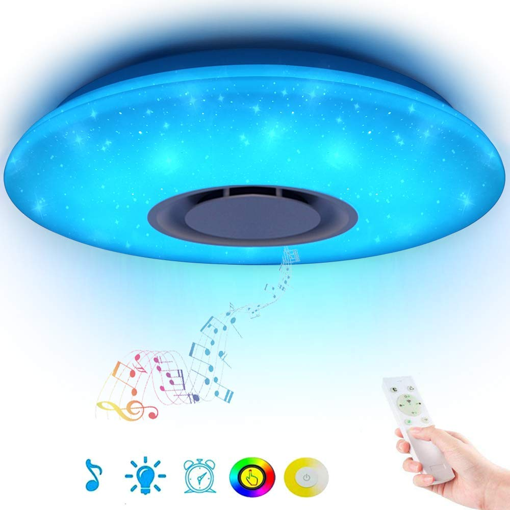 Music Led Ceiling Light Lamp 36W Rgb Flush Mount Round Starlight Music With Bluetooth Speaker Dimmable Color Lights for bedroom image