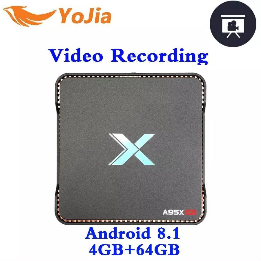 64 4GB de RAM GB ROM Gravação de Vídeo Caixa de TV Android 8.1 Amlogic A95X MAX S905X2 QuadCore 2.4G & GHz Dual Wifi 1000M 4 5 K Media Player