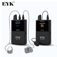 EYK EW-C100 mikrofon bezprzewodowy mikrofon krawatowy z funkcją monitora UHF bezprzewodowa klapa mikrofonu do smartfonów lustrzanki cyfrowe